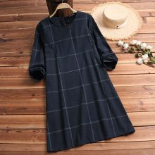 Long Sleeve Cotton Linen Knee-length Casual Plaid Dress
