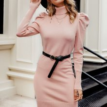 Turtle Neck Bodycon Knitted Puff Shoulder Dress