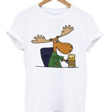 Moose drinking beer t-shirt